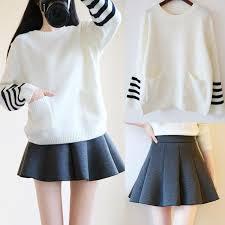 sweater skirt students sweater skirt two fashion kawaii