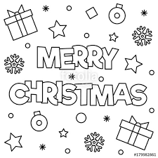merry christmas coloring vector illustration