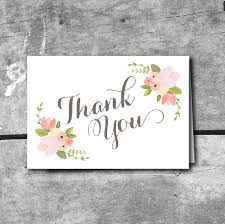 rustic floral thank you card instant printable by