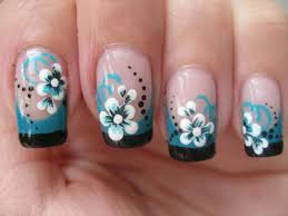 nail art double colored french tip with flower youtube