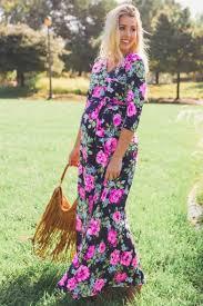 Maternity Drape Dress Navy Neon Floral Draped 3 4 Sleeve Maternity Maxi Dress Pregger