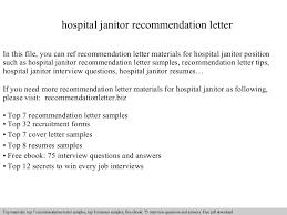 Janitor Job Description For Resume Hospital Janitor Recommendation Letter