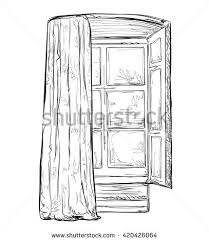 hand drawn hurtains windows sketch interior stock vector 420426064