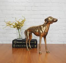 large brass greyhound whippet dog statue hollywood regency home