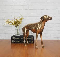 large brass greyhound whippet dog statue hollywood regency home large brass greyhound whippet dog statue hollywood regency home decor by fireflyvintagehome on etsy