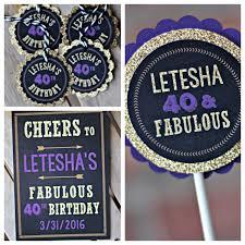 ladies 40th birthday party decoration purple black gold
