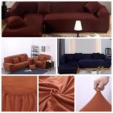 L Shaped Fabric Sofas L Shape 3 Seat Stretch Elastic Fabric Sofa Cover Pet Dog