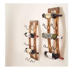 rustic wood metal slate 5 bottle hanging wine rack holder kitchen