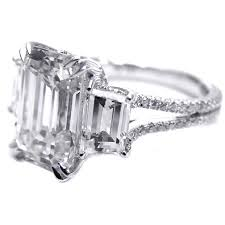 vintage emerald cut engagement rings engagement ring three emerald cut diamond vintage style