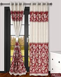 Floral Jacquard Curtains Mista Set Of 2 Maroon U0026 Cream Floral Jacquard Weaved Polyester