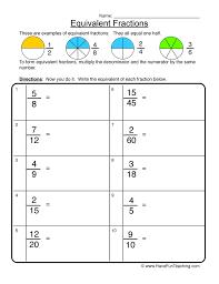 equivalent fractions worksheet 1