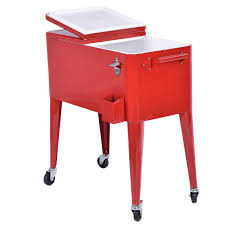Patio Table Beer Cooler Red Portable Outdoor Patio Cooler Cart Coolers Food U0026 Beverage