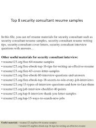 Security Resume Examples by Top 8 Security Consultant Resume Samples 1 638 Jpg Cb U003d1428136920