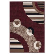 White Modern Rug by Sweet Home Stores Clifton Collection Modern Circles Design Red 5