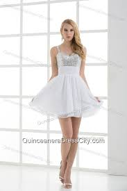 quinceanera damas dresses a line straps white sleeveless beading and ruching dresses for