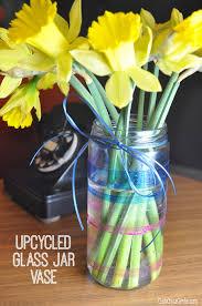 jar vase upcycled glass jar glitter striped vase