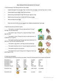 Halloween Monster Games by Halloween Monsters Description Worksheet Free Esl Printable