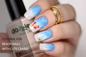 ombre beach nails with watermarble splashes and crabby youtube