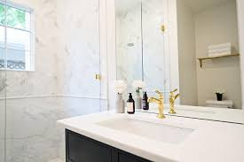 Gold Faucet Bathroom by Black Bath Vanity With Gold Faucet Transitional Bathroom