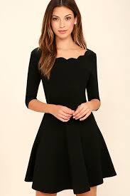 black dress scalloped dress skater dress 46 00