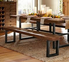 Table With Benches Set Griffin Reclaimed Fixed Table U0026 Bench 3 Piece Dining Set Pottery