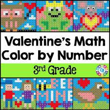 valentine u0027s day math color by number 3rd grade u2013 games 4 gains