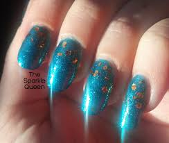 sparkly blue and copper gradient nail art a sparkly life for me