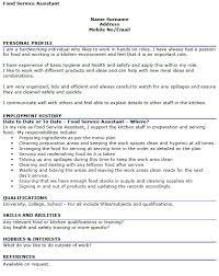 food service resume food service assistant cv exle icover org uk