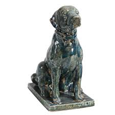home decorators collection distressed blue sitting dog statue