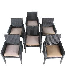 Woven Patio Chair Six Woven Patio Chairs With Brown For Meijer Cushions Ebth