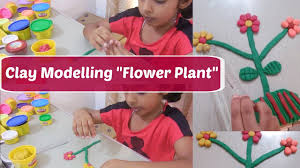 clay modelling flower plant clay modelling for kids children