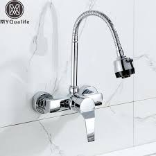 Single Kitchen Faucet Wall Mounted Sprayer Kitchen Faucet Single Handle Chrome
