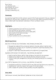 Examples Of Chef Resumes by Download Culinary Resume Haadyaooverbayresort Com