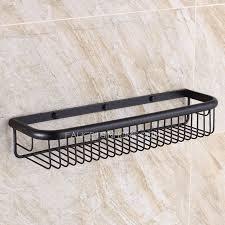 Black Bathroom Shelves 45cm Black Rectangle Wire Rubbed Bronze Hanging Bathroom Shelves