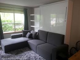 Sofa Murphy Beds by Horizontal Inline Murphy Bed With Top Hutch And Sofa With Regard