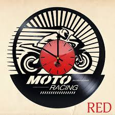 moto racing vinyl record wall clock unique gift vinyl clocks
