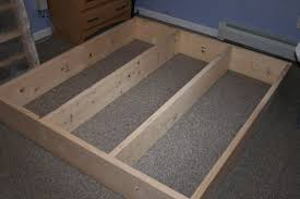 Plans For Platform Bed Frame With Drawers by Leg Posts On Inside Corners And Cover Top With Board Before