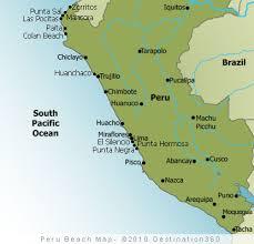 peru beaches map map of the top beaches in peru