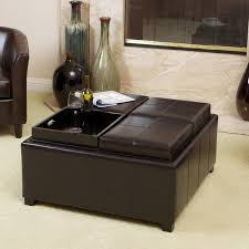mason bonded leather espresso tray top storage ottoman by