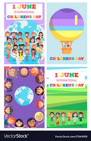 children s cards international children s day greeting cards set vector image