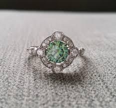 antique diamond engagement rings estate halo blue green moissanite diamond antique engagement ring