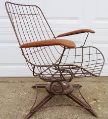 Patio Furniture Swivel Chairs Vintage Mid Century Modern Eames Era Wire Chair Brown