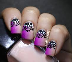 nail loopy lace nails with vertical illamasqua gradient