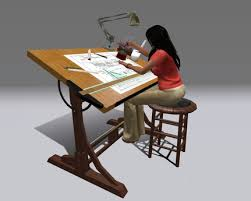 Second Life Marketplace Couples Animated Drafting Table Antique - Designer drafting table