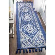 Flat Weave Runner Rugs Nuloom Flatweave Tribal Cotton Tassel Blue Runner