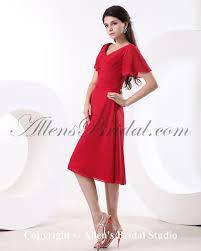 allens bridal chiffon v neck knee length a line bridesmaid dress