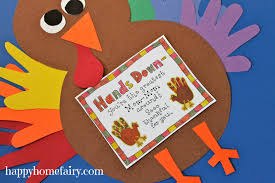 thankful handprint turkey craft free printable happy home