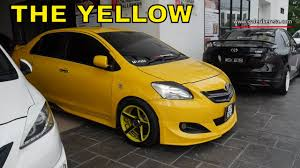 yellow toyota yellow 2nd generation vios modified with vossen rims youtube