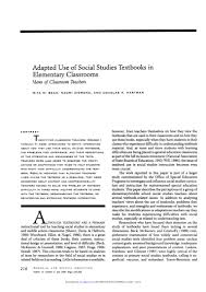 bean zigmond hartman 1994 adapted use of social studies textbooks