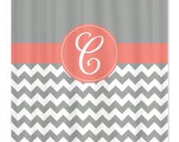 Coral And Gray Curtains Dazzling Design Coral And Gray Shower Curtain Etsy Curtains Ideas